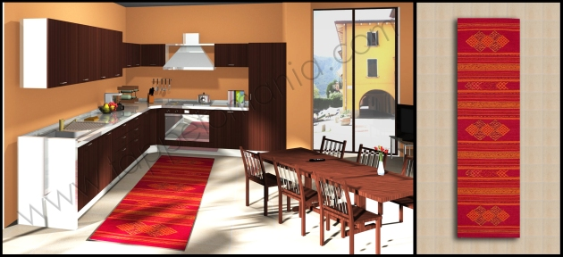 Prova i tappeti per la cucina decoro etnico in cotone - Cucina stile etnico ...